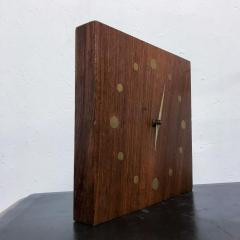 Jean Gillon Solid Rosewood and Brass Wall Clock Mid Century Modern Period - 1331099
