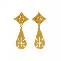 Jean Mahie Jean Mahie 1970s Gold Day to Night Earrings with Teardrop Shaped Pendants - 1373923