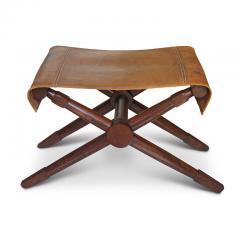 Jean Michel Frank Excellent pair of Folding Benches in Oak and Leather by Jean Michel Frank - 702380