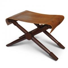 Jean Michel Frank Excellent pair of Folding Benches in Oak and Leather by Jean Michel Frank - 702381