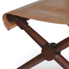 Jean Michel Frank Excellent pair of Folding Benches in Oak and Leather by Jean Michel Frank - 702382