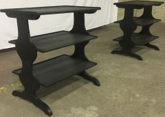 Jean Michel Frank J M Frank attributed Rare Pair of Black 3 Tier Side Tables - 441853