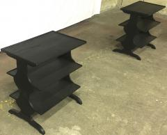 Jean Michel Frank J M Frank attributed Rare Pair of Black 3 Tier Side Tables - 441873