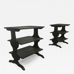 Jean Michel Frank J M Frank attributed Rare Pair of Black 3 Tier Side Tables - 444610