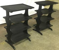 Jean Michel Frank J M Frank attributed Rare pairPof Black 4 Tier Side Tables - 441959