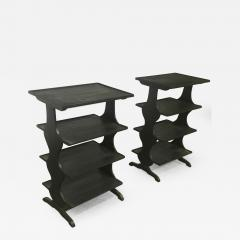 Jean Michel Frank J M Frank attributed Rare pairPof Black 4 Tier Side Tables - 444611