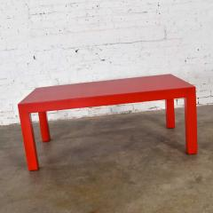 Jean Michel Frank Mcm chinese red painted rectangle parsons coffee table - 1900231