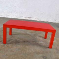 Jean Michel Frank Mcm chinese red painted rectangle parsons coffee table - 1900304