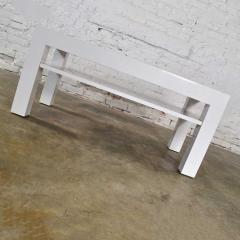 Jean Michel Frank Mid century modern two tiered white laminate parson s style coffee or end table - 1900187
