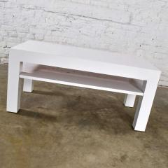 Jean Michel Frank Mid century modern two tiered white laminate parson s style coffee or end table - 1900188