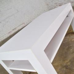 Jean Michel Frank Mid century modern two tiered white laminate parson s style coffee or end table - 1900189