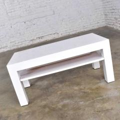 Jean Michel Frank Mid century modern two tiered white laminate parson s style coffee or end table - 1900214