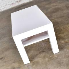 Jean Michel Frank Mid century modern two tiered white laminate parson s style coffee or end table - 1900222
