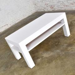 Jean Michel Frank Mid century modern two tiered white laminate parson s style coffee or end table - 1900223