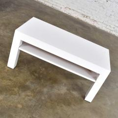 Jean Michel Frank Mid century modern two tiered white laminate parson s style coffee or end table - 1900270