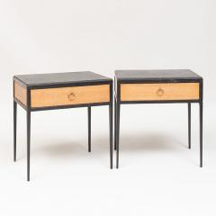 Jean Michel Frank PAIR OF OAK AND LEATHER SIDE TABLES IN THE MANNER OF JEAN MICHEL FRANK - 1911329