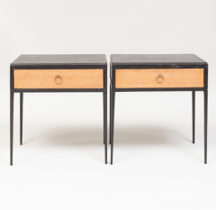 Jean Michel Frank PAIR OF OAK AND LEATHER SIDE TABLES IN THE MANNER OF JEAN MICHEL FRANK - 1911450