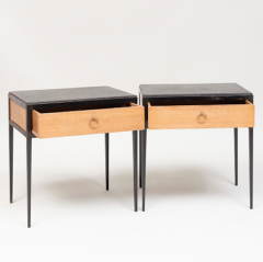 Jean Michel Frank PAIR OF OAK AND LEATHER SIDE TABLES IN THE MANNER OF JEAN MICHEL FRANK - 1911451