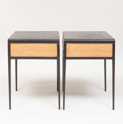 Jean Michel Frank PAIR OF OAK AND LEATHER SIDE TABLES IN THE MANNER OF JEAN MICHEL FRANK - 1911452