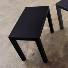 Jean Michel Frank Pair mid century modern black painted parsons side tables 1 square 1 rectangle - 1900207