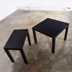 Jean Michel Frank Pair mid century modern black painted parsons side tables 1 square 1 rectangle - 1900213