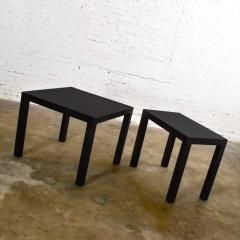 Jean Michel Frank Pair mid century modern black painted parsons side tables 1 square 1 rectangle - 1900217