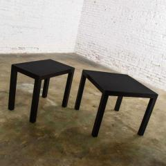 Jean Michel Frank Pair mid century modern black painted parsons side tables 1 square 1 rectangle - 1900218