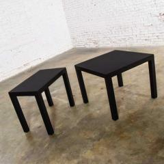 Jean Michel Frank Pair mid century modern black painted parsons side tables 1 square 1 rectangle - 1900219