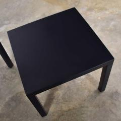 Jean Michel Frank Pair mid century modern black painted parsons side tables 1 square 1 rectangle - 1900243