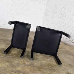 Jean Michel Frank Pair mid century modern black painted parsons side tables 1 square 1 rectangle - 1900255