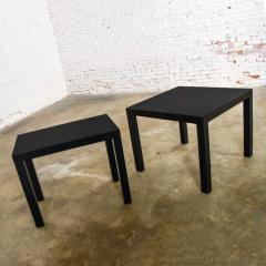 Jean Michel Frank Pair mid century modern black painted parsons side tables 1 square 1 rectangle - 1900256
