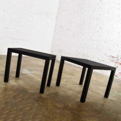Jean Michel Frank Pair mid century modern black painted parsons side tables 1 square 1 rectangle - 1900259
