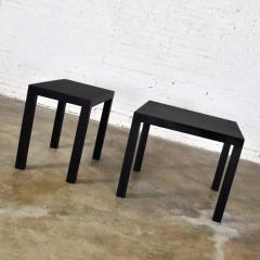 Jean Michel Frank Pair mid century modern black painted parsons side tables 1 square 1 rectangle - 1900307
