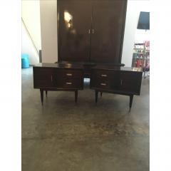 Jean Michel Frank Pair of Argentine Jean Michel Frank for Comte Attributed Walnut Bedside Cabinets - 317530