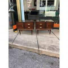 Jean Michel Frank Pair of Argentine Jean Michel Frank for Comte Attributed Walnut Bedside Cabinets - 317531