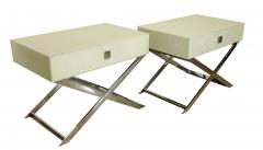 Jean Michel Frank Pair of Faux Shagreen and Polished Chrome Bedside Occassional Tables - 717102