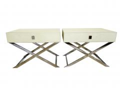 Jean Michel Frank Pair of Faux Shagreen and Polished Chrome Bedside Occassional Tables - 717108