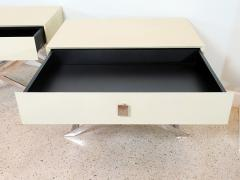 Jean Michel Frank Pair of Faux Shagreen and Polished Chrome Bedside Occassional Tables - 717121