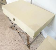 Jean Michel Frank Pair of Faux Shagreen and Polished Chrome Bedside Occassional Tables - 717123