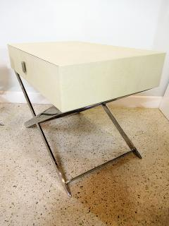Jean Michel Frank Pair of Faux Shagreen and Polished Chrome Bedside Occassional Tables - 717124