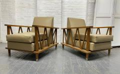 Jean Michel Frank Pair of French Cerused Oak Lounge Chairs in the Style of Jean Michel Frank - 1935060