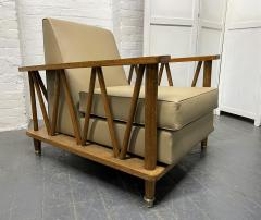 Jean Michel Frank Pair of French Cerused Oak Lounge Chairs in the Style of Jean Michel Frank - 1935061