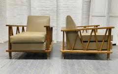 Jean Michel Frank Pair of French Cerused Oak Lounge Chairs in the Style of Jean Michel Frank - 1935062