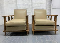 Jean Michel Frank Pair of French Cerused Oak Lounge Chairs in the Style of Jean Michel Frank - 1935065