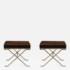 Jean Michel Frank Pair of Modern Neoclassical Benches or Stools in the Manner of Jean Michel Frank - 1879902