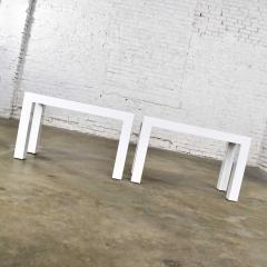 Jean Michel Frank White laminate parsons style side or end tables with glass tops a pair - 1900183
