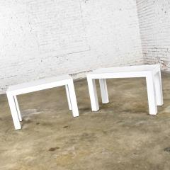 Jean Michel Frank White laminate parsons style side or end tables with glass tops a pair - 1900184