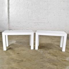 Jean Michel Frank White laminate parsons style side or end tables with glass tops a pair - 1900201