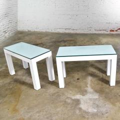 Jean Michel Frank White laminate parsons style side or end tables with glass tops a pair - 1900204