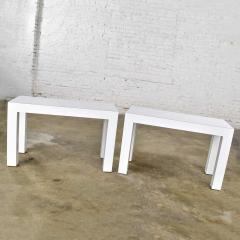 Jean Michel Frank White laminate parsons style side or end tables with glass tops a pair - 1900244